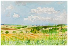 Learn more about Looking Towards Huggate Late Summer by British artist David Hockney. Landscape Drawings, Watercolor Landscape, Landscape Art, Landscape Paintings, Watercolor Painting, David Hockney Paintings, Pop Art Movement, Illustration Sketches, Illustrations