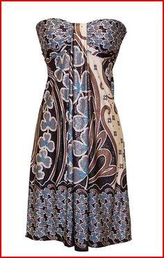 plus size cocktail dresses | Plus Size Cocktail Dresses – Blue Jersey Strapless Printed Dress ...