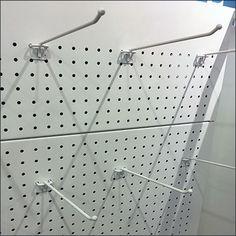 Perforated-Metal Pegboard Display Backboard Pegboard Display, Metal Pegboard, Retail Fixtures, Store Fixtures, Metal Store, Perforated Metal, Metal Baskets, Hooks, Color