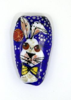 Artist made bead, rabbit bead, glass bead, glass afternoon by egija straujuma, artisan bead, hare focal bead, lampwork glass bead by GlassAfternoon on Etsy