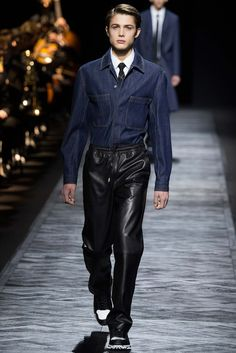 Denim n Leather , Black n Blue! Dior Homme - Fall 2015 Menswear - Look 14 of 49