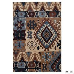 Rizzy Home Southwestern Blue/ Bellevue Collection Power-Loomed Accent Rug