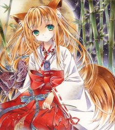 ✮ ANIME ART ✮ miko priestess. . .Shinto priestess uniform. . .kitsune. . .fox girl. . .fox ears. . .fox tail. . .bamboo. . .nature. . .moon. .. night sky. . .sparkling. . .cute. . .kawaii