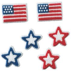 Stars and Flags Patriotic Themed Icing Decorations