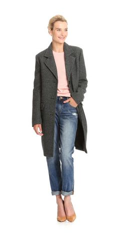 Tweed Coat from Joe Fresh. Start the season off right in a tweed coat complete with a tailored silhouette and menswear inspired details.  Only $99.