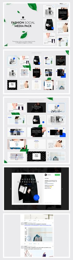 Give your social media accounts a design upgrade with the Fashion Social Media Pack. This package includes 15 templates designed natively for Facebook, Instagram and Twitter. Each of them is easy to edit and customize, all you have to do is replace images with your artwork via Smart Objects and add your copy.  This pack is ideal for bloggers, fashion brands, lifestyle brands, magazines and creative business.  Simply drop your content into the template and save it.  Photographs NOT included…