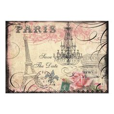 Shabby Chic Wedding RSVP Invitations Chic Eiffel Tower & Chandelier Save The Date Card