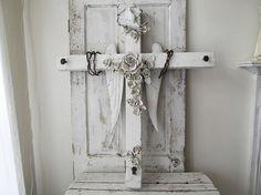Huge white cross w/ angel wings wall hanging by AnitaSperoDesign