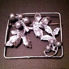 "Victorian Sterling Pin Brooch Grape Clusters & Leaves 2"" x 1.5"" (5 grams) by Sharv50 on Etsy"