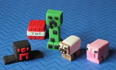 MINECRAFT Blocks PIXELS  Fondant Cupcake by fondanttoppersbooth