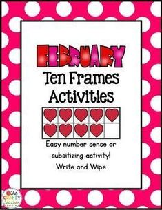 Easy and fun subitzing cards with two different activities! February or Valentine themed. Subitizing Activities, Ten Frame Activities, Ten Frames, Math Workshop, Math Stations, Number Sense, Teaching Kindergarten, Small Groups, February