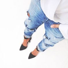 Boyfriend jeans and on-point heels