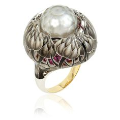 llgiz for Annoushka Burdock ring features flowers which climb up a ruby-covered base towards the central pearl in an innovative design.