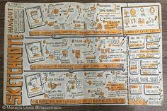 """Sketchnotes from #SketchnoteHangout """"How I got started in Visual Storytelling: Sketchnotes, Graphic Recording and everything in between"""" hosted by Caroline Chapple, Verity Harrison and Makayla Lewis (Drawn by Makayla Lewis) 