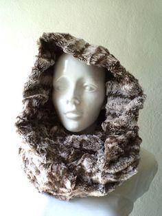 Infinity scarf cowl Vegan scarf FAUX FUR hoodie by CheriDemeter, $25.00