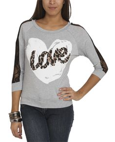 Leopard Printed Heart Sweater | Shop Junior Clothing at Wet Seal