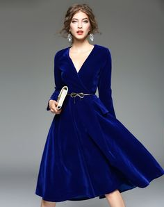 #AdoreWe #VIPme Swing Dresses - LANJIAN Blue V Neck Velvet Elegant Swing Midi Dress - AdoreWe.com