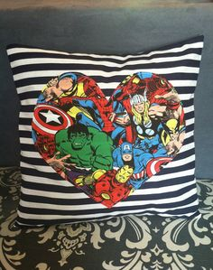 Marvel Characters Pillow Cover 15 x 15 by nicolrene on Etsy. $14.99, via Etsy.