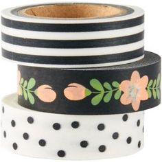 Add an adorable touch to your cards and projects with the black and white washi tape set! This set includes three washi tapes: black and white stripes, white with black polka dots, and black with pink