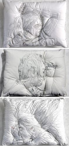 Sleeping people embroidered onto handmade pillows (by Maryam Ashkanian)! This co… Sponsored Sponsored Sleeping people embroidered onto handmade pillows (by Maryam Ashkanian)! This could be easily adapted to a fiber art assignment on any grade level! Art Rupestre, Instalation Art, A Level Art, Wow Art, Gcse Art, Handmade Pillows, Handmade Art, Street Art Graffiti, Art Plastique
