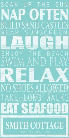 BEACH Sign Cottage Rules Canvas Personalized by redbarncanvas  #Beach decor