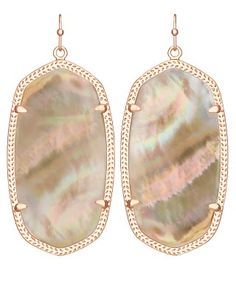 Danielle Rose Gold Earrings In Brown Pearl
