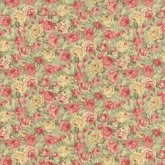 Vintage roses in shades of beige, pink, and chocolate. Classic shabby chic floral fabrics. #ShowMeTheModa #Quilt #Fabric #Sew #Floral #Flowers