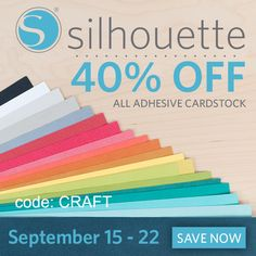 40% off Silhouette Adhesive Cardstock. Love the rainbow! use code: CRAFT http://www.craftaholicsanonymous.net/september-promo