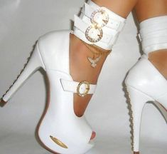 Shoes: white, gold, bling, sexy, high heels, white high heels ...