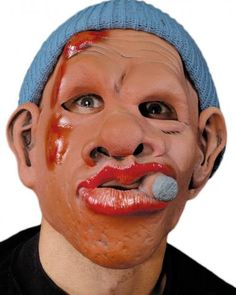 Le Roy Mask SKU: M2558 Tough Guy / boxer male character mask with cigar and head bump injury. Includes an attached knit hat making this an easy to wear, comfortable mask. Zagone Masks & Costumes | Zagone Studios
