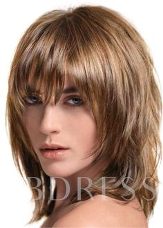 Short Shag Hairstyles, Haircuts For Medium Hair, Bangs With Medium Hair, Medium Hair Cuts, Short Hair Cuts, Medium Hair Styles, Short Hair Styles, Full Fringe Hairstyles, Layered Haircuts