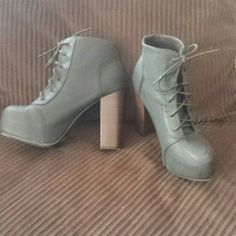 """Lace-Up Booties with Thick Heel Stunning platform heels perfect for Fall/Winter! Dark gray with matching laces and a dark wood color heel. The heel height is 4.5"""". These were worn once & are in like-new condition! Divided Shoes Ankle Boots & Booties"""