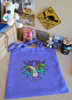 OOAK hand painted lilac tote bag with cute beige rat with