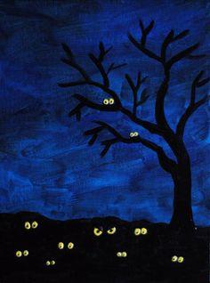 Dark Blue Sky Black Tree Glowing Eyes Original by LadyAlchemy13, $55.00