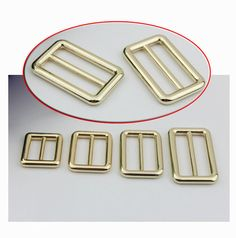12pcs 5mm1 1/2  Square gold Adjuster buckle for  by kesterpurse