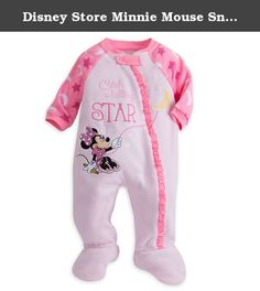 Disney Store Minnie Mouse Snap Blanket Sleeper Footed for Baby (Minnie) (6-9 Months). Minnie Mouse and your little one will sleep peacefully under the moon and stars in this soft blanket sleeper. Minnie keeps the moon steady as she tries to ''Catch A Falling Star'' on this cozy sleepwear with attached slipper feet.