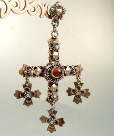 Vintage Taxco Mexico Sterling Silver Yalalag Cross by jujubee1