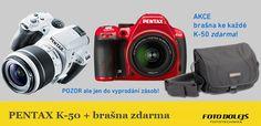 Akce PENTAX - brašna zdarma k zrcadlovce PENTAX K-50. Pouze do vyprodání zásob. / Foto Dolejš.cz