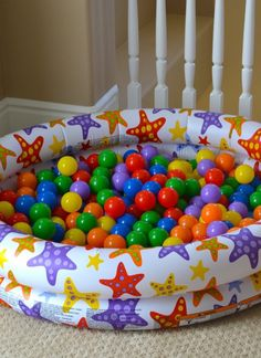 A ball pit is a fun way to get your kids moving even on a rainy day. Find more playroom inspiration here!
