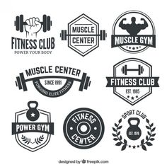 Fitness club badges Vecteur Premium