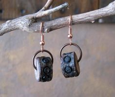 Rustic Wooden Wheel Earrings Boho Copper and by TheMysticWood, $12.00