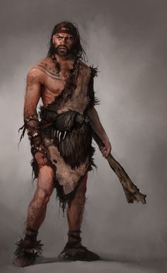 this image because it shows the prehistoric/stone age human structure and proportions. It also shows what weapons prehistoric/stone age humans would of used. This will help me learn and draw my characters in my concept art.