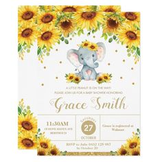 Elephant Sunflower Floral Baby Shower Girl Invitation - tap to personalize and get yours #Invitation  #elephant #baby #shower #baby #girl Baby Girl Invitations, Baby Shower Invitation Cards, Baby Shower Invites For Girl, Girl Shower, Glitter Invitations, Party Invitations, Lion Baby Shower, Floral Baby Shower, Bridal Shower
