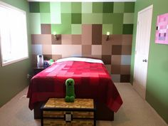 My cousin's son is obsessed with Minecraft. While he was away at a sleepover, she changed his room up a little bit!