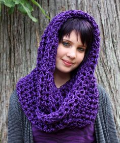 Cowl neck scarf  - purple looks beautiful on her.