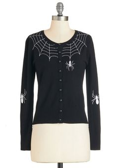 Itsy Bitsy Rider Cardigan. Wherever you mingle in this black cardigan, you take its embroidered spiders along for the ride! #gold #prom #modcloth
