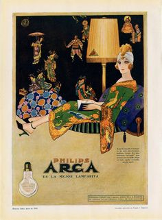 1918 Philips Advert Poster Filament Light Bulb by CarambasVintage