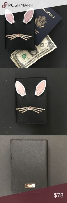 "Kate Spade Hop To It Passport Cover Holder Fun and adorable black bunny rabbit Imogene passport cover from Kate Spade.    Nose has a pink jewel 7 Credit Card Slots Gold Hardware Saffiano Anti Scratch  Measurements L: 5.3"" W: 3.8"" D: 0.4""  💯 % Authentic  NWT Never been worn  ❌🚭🐱🐶 ❌ TRADES kate spade Bags Wallets"