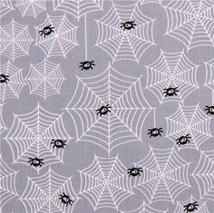 grey Riley Blake cobwegbs fabric Halloween Parade #Halloween