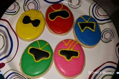 Power ranger sugar cookies pink blue green yellow and red
